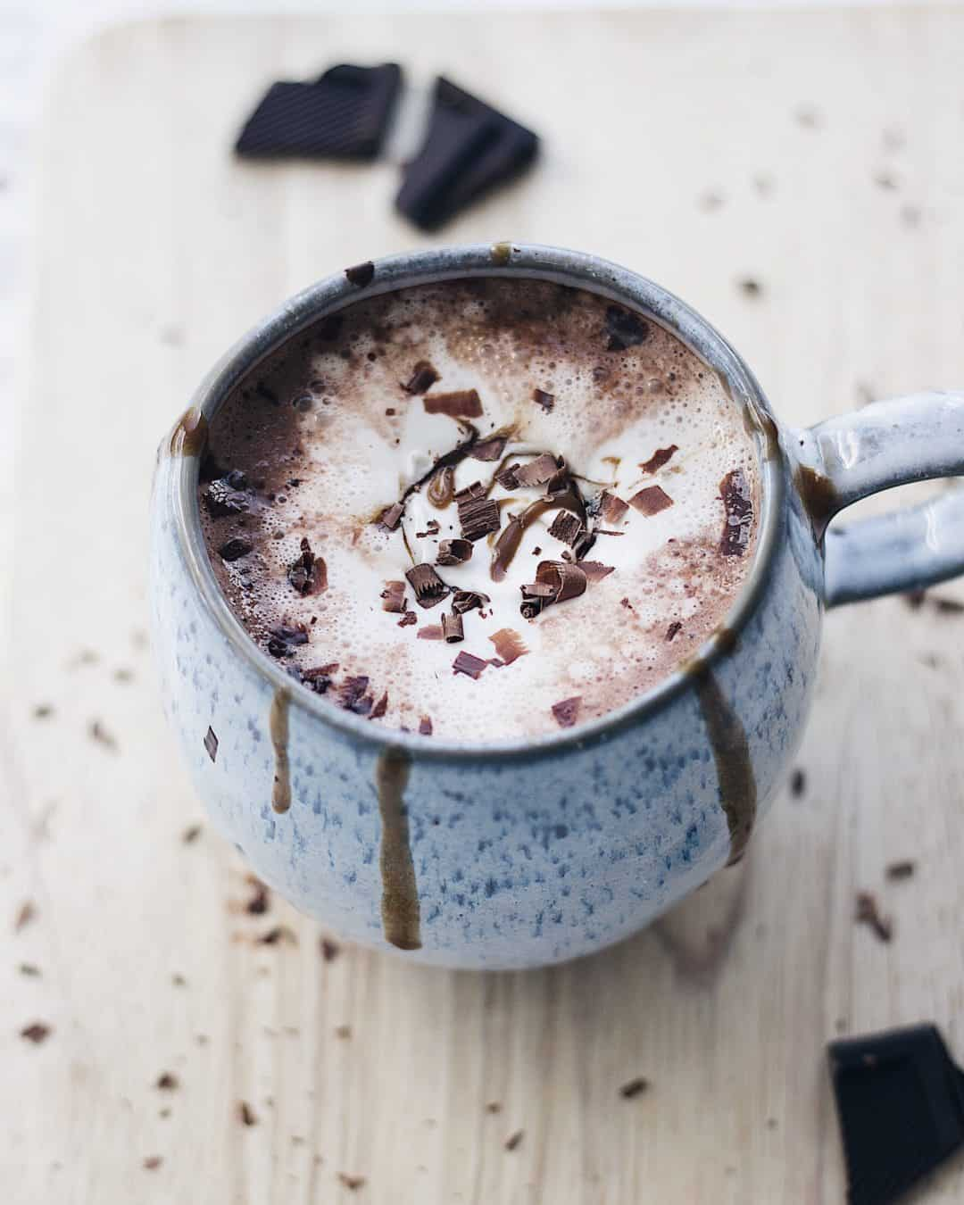 Vegan Creamy Oat Milk Hot Chocolate With Coconut Whipped Cream
