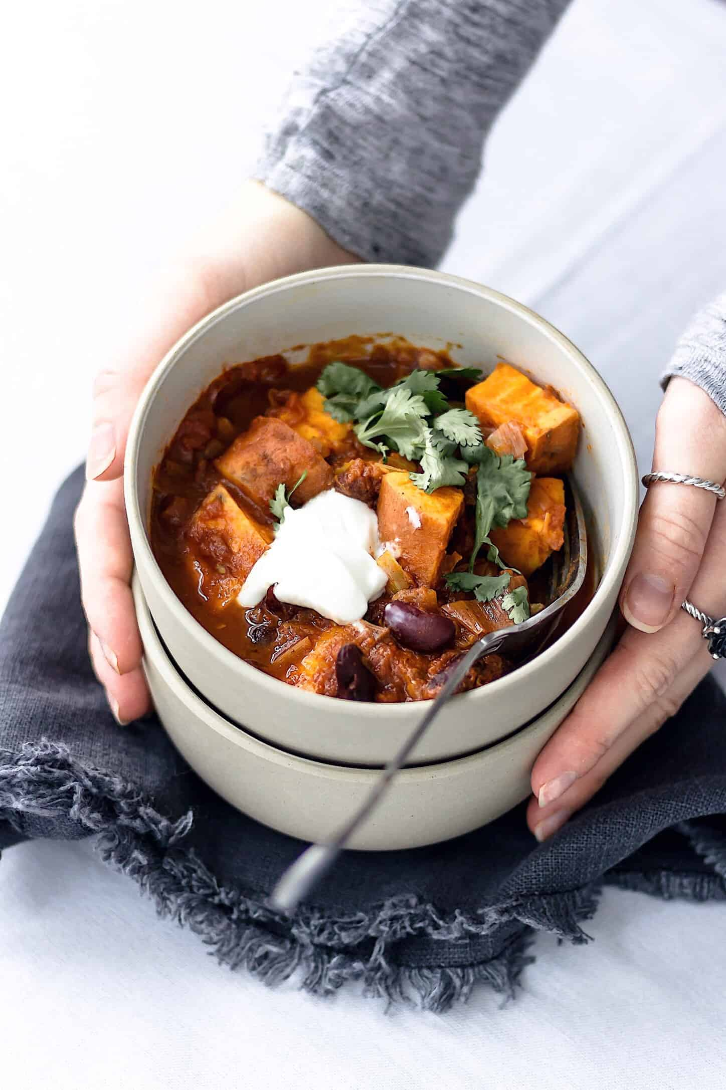 Vegan one pot sweet potato chilli
