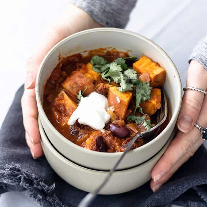 Vegan one pot sweet potato chilli