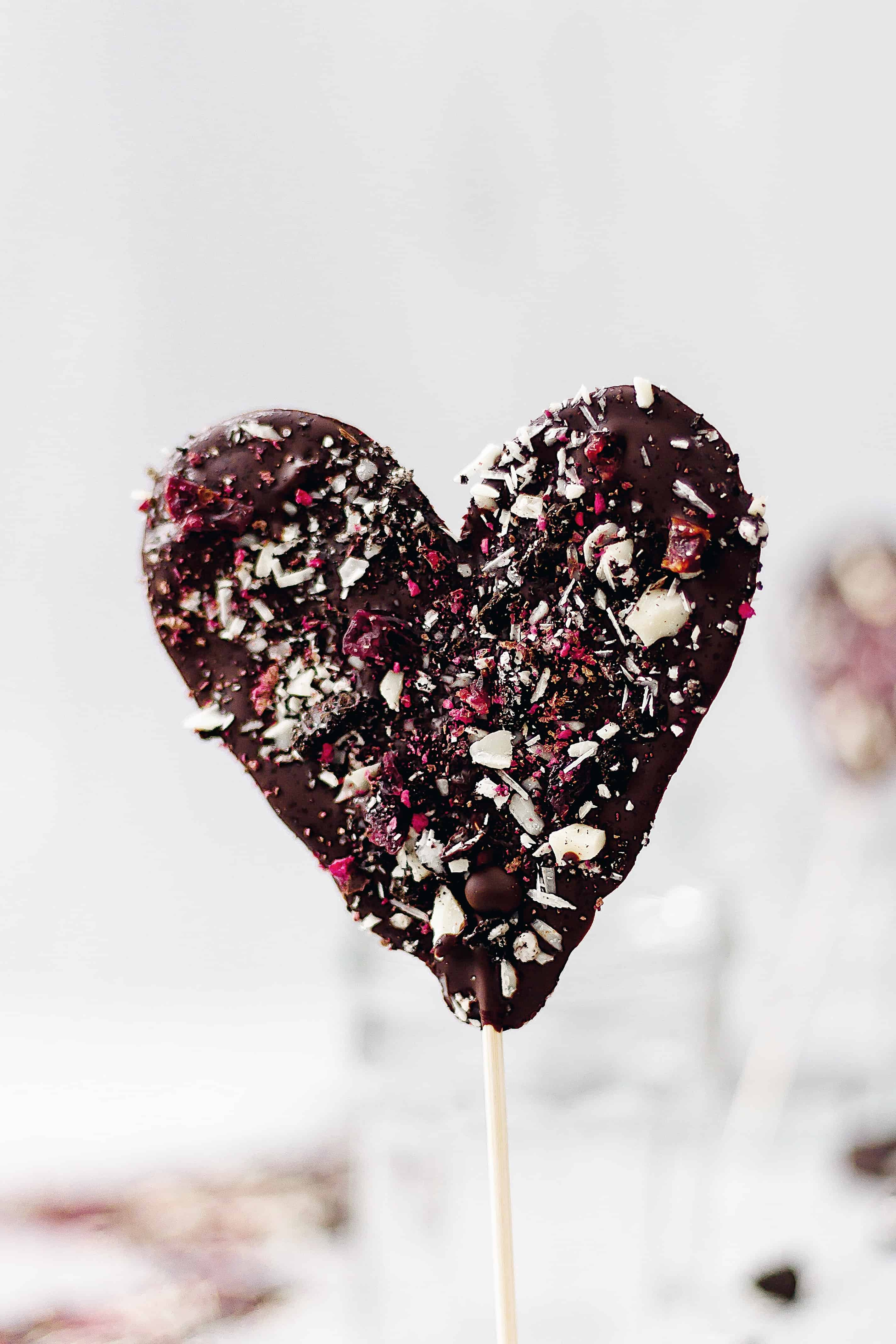 vegan chocolate valentine lollipop