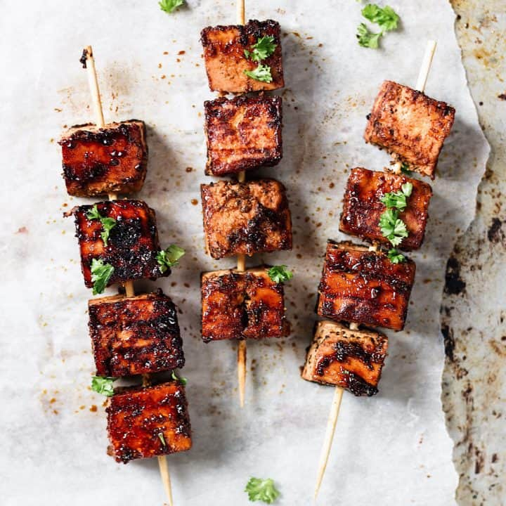 cajun orange tofu skewer vegan