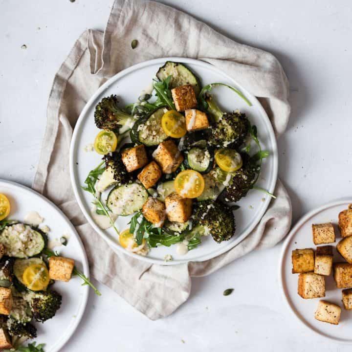 Vegan Courgette, Broccoli and Rocket Salad with Crispy Jerk Tofu
