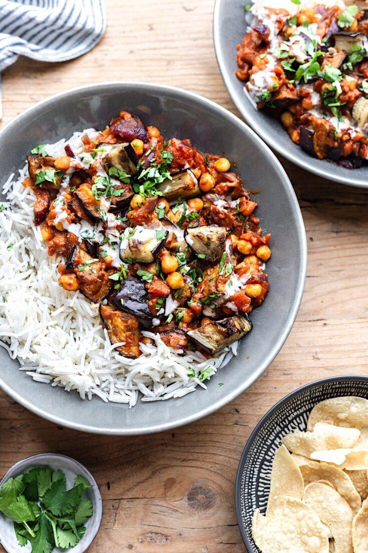Vegan Roasted Aubergine Chickpea Curry Cupful Of Kale