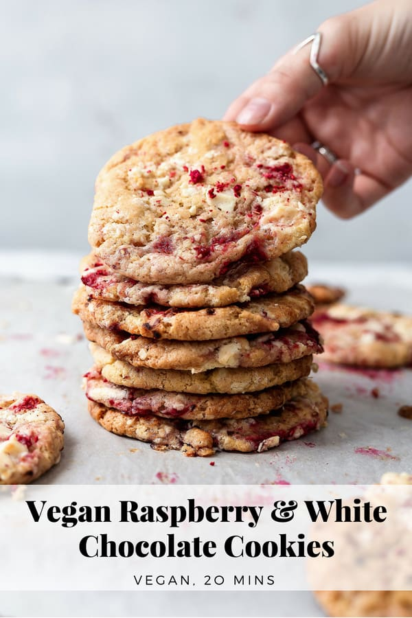 vegan white chocolate and raspberry cookies