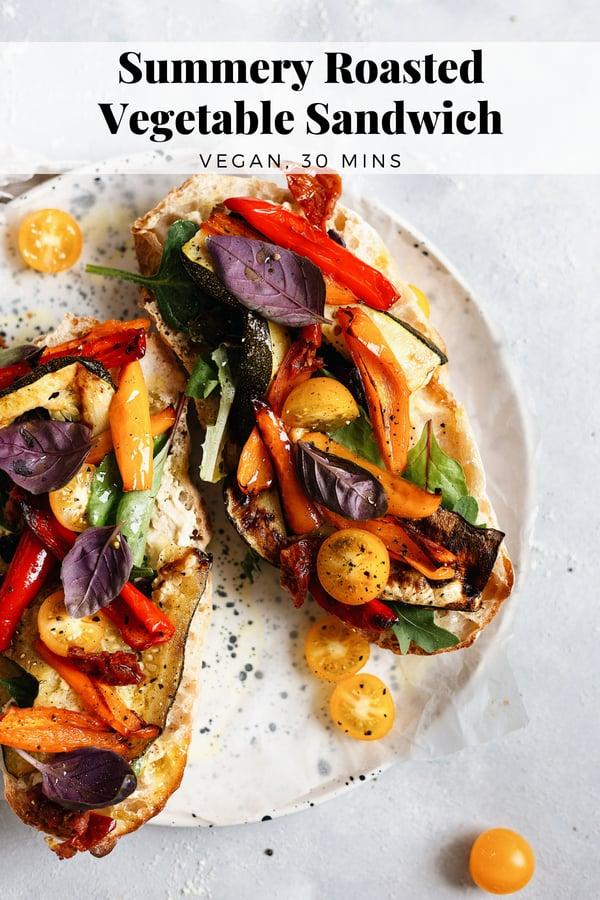 Vegan Roasted Vegetable Sandwich #vegansandwich #roastedvegetables