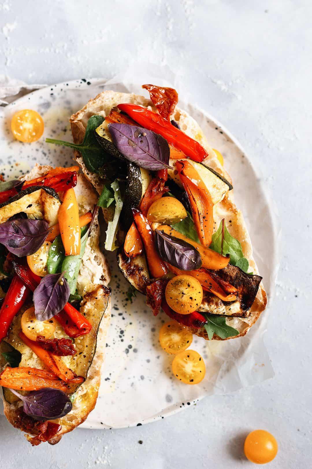 summer roasted vegetable sandwich