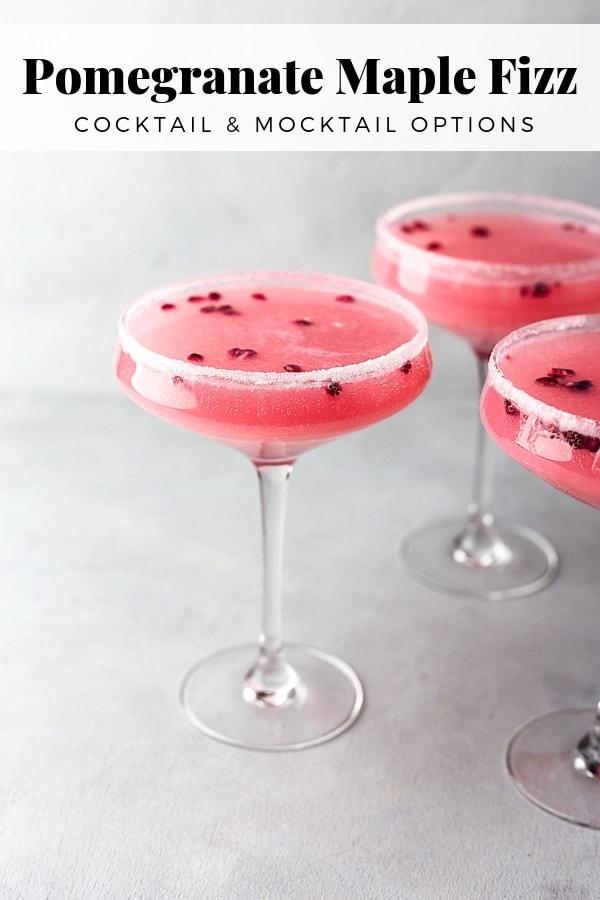 Pomegranate Maple Fizz Cocktail #cocktail #drink