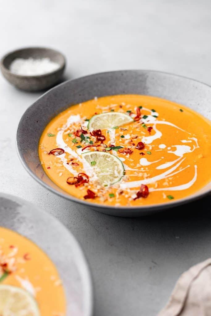 Thai Sweet Potato & Carrot Soup #recipe #soup #vegan