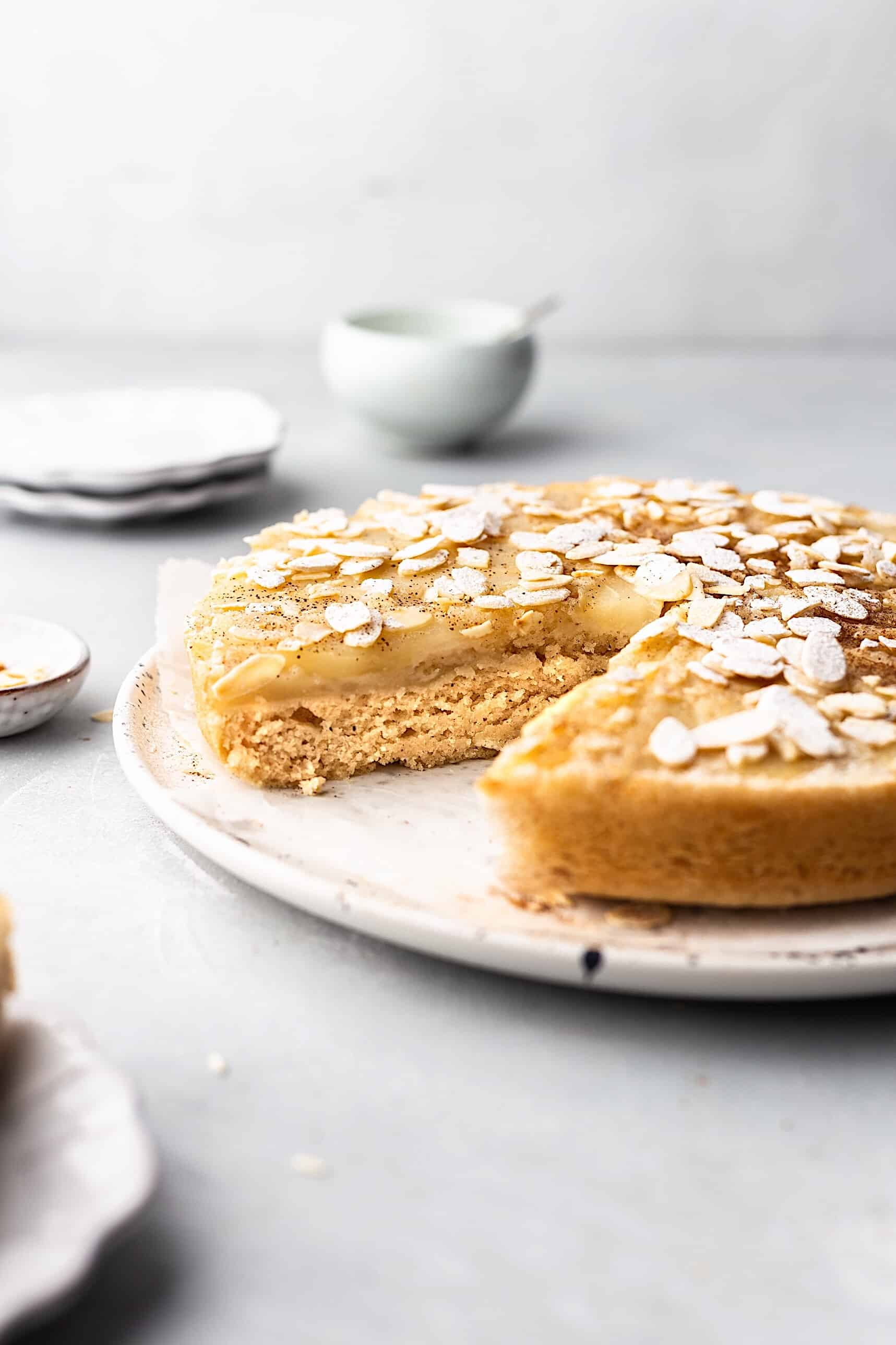 Vegan Upside Down Pear Almond Cake #cake #recipe #vegan