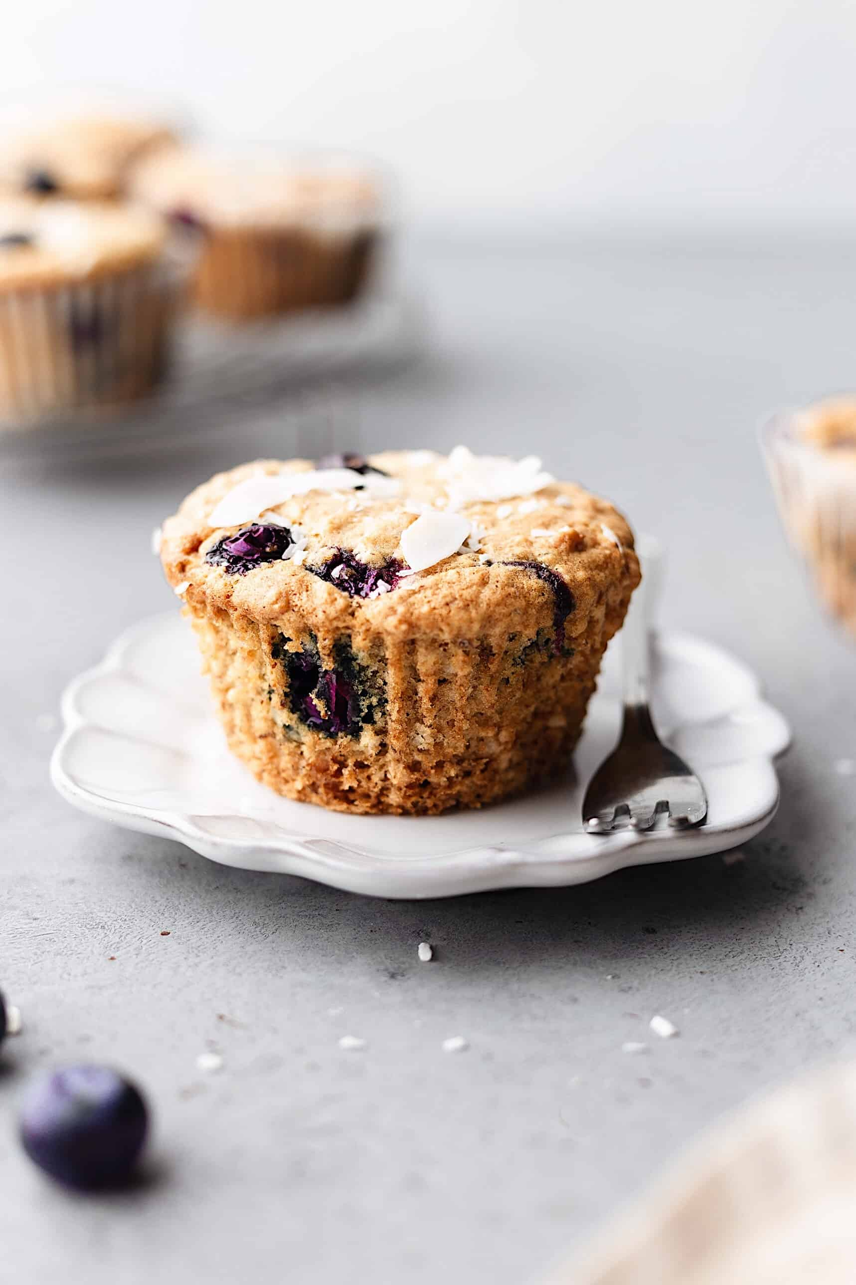 Vegan Blueberry and Coconut Muffins #vegan #recipe #cake