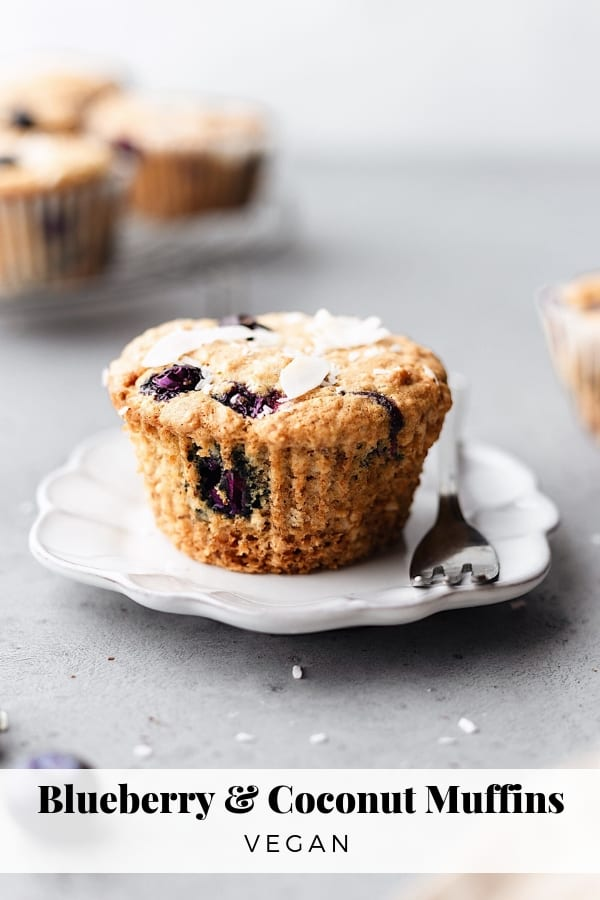 Vegan Blueberry Coconut Muffins #vegan #recipe #muffins