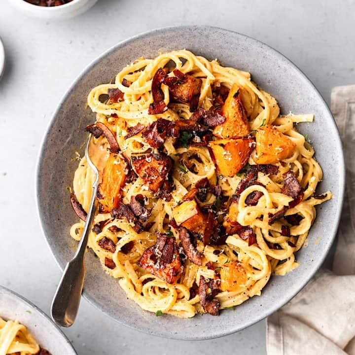Butternut Squash Carbonara with Coconut Bacon #recipe #vegan #pasta