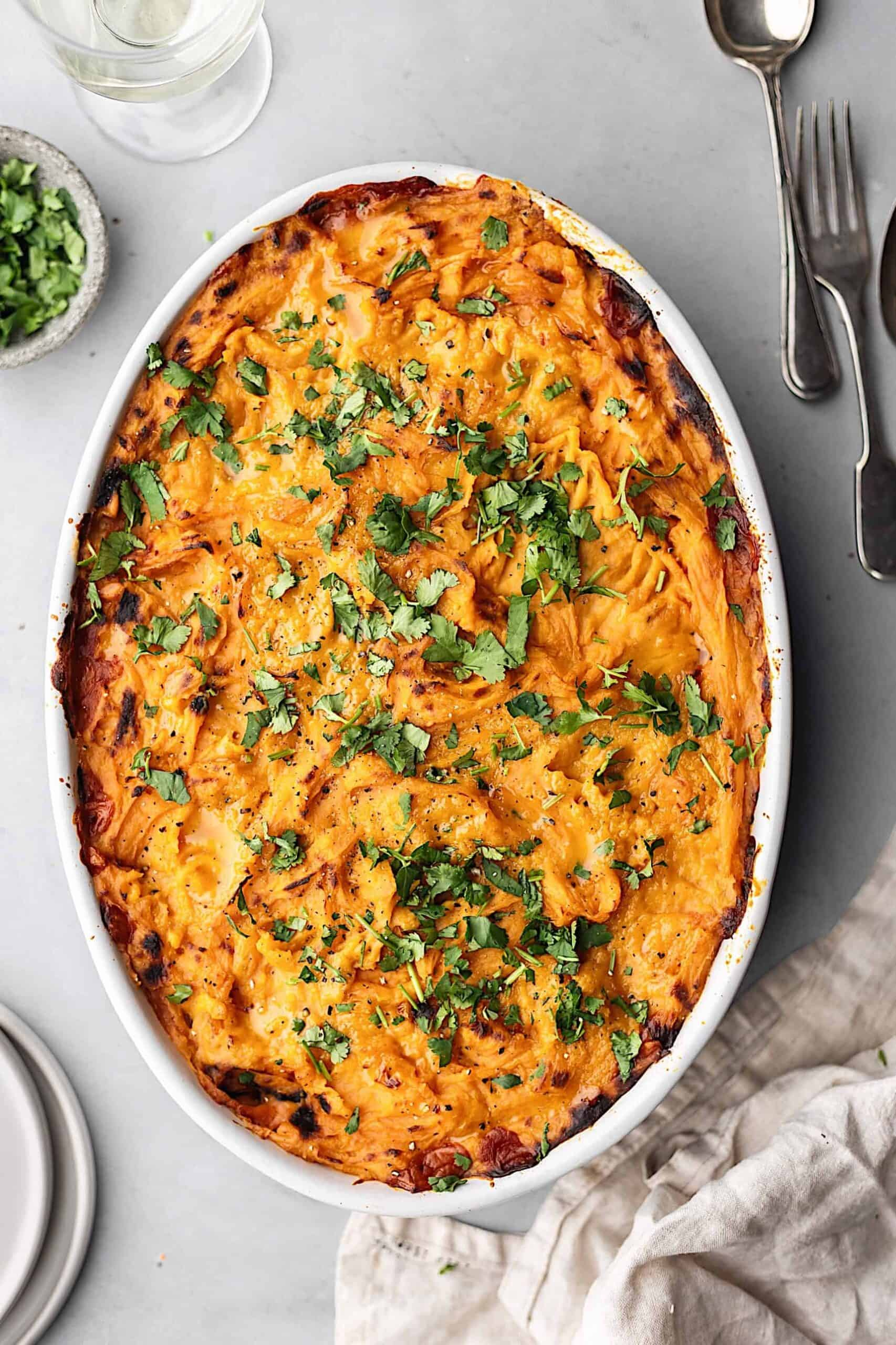 Lentil Shepherds Pie with Sweet Potato Mash #vegan #recipe #shepherdspie