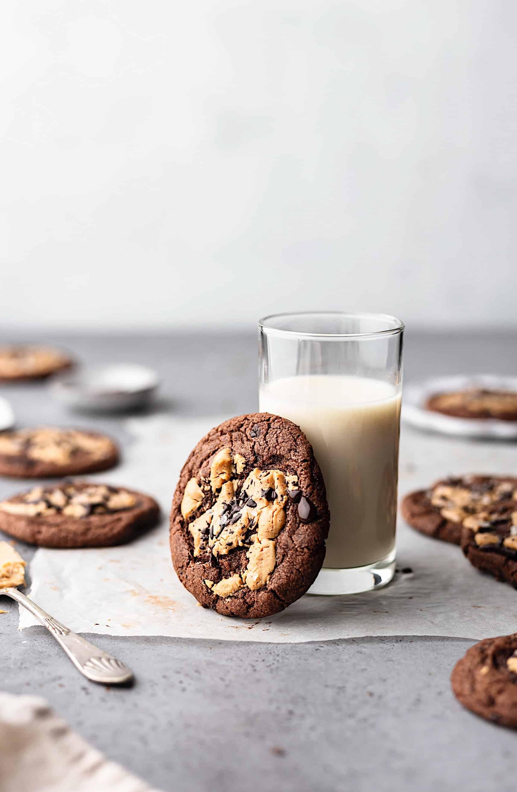 Vegan Chocolate Peanut Butter Cookies #cookies #recipe #vegan #chocolate #peanutbutter