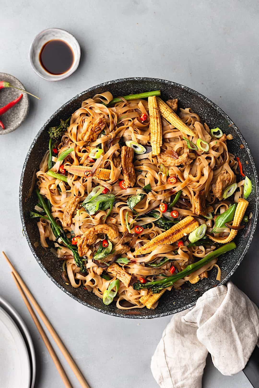 Thai Drunken Noodles Pad Kee Mao Cupful Of Kale