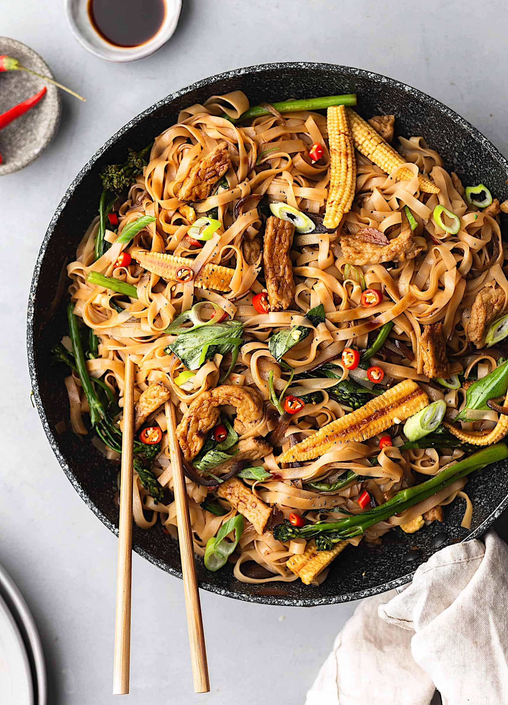 Vegan Thai Drunken Noodles Pad Kee Mao