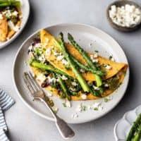 Vegan Asparagus, Pesto and Feta Omelette