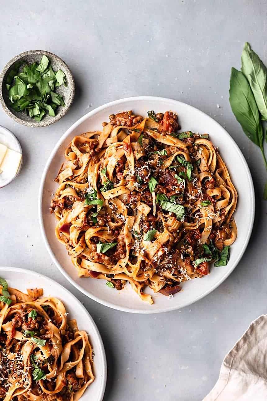 Vegan Puy Lentil Ragu Tagliatelle Pasta #vegan #recipe #pasta #ragu #lentil