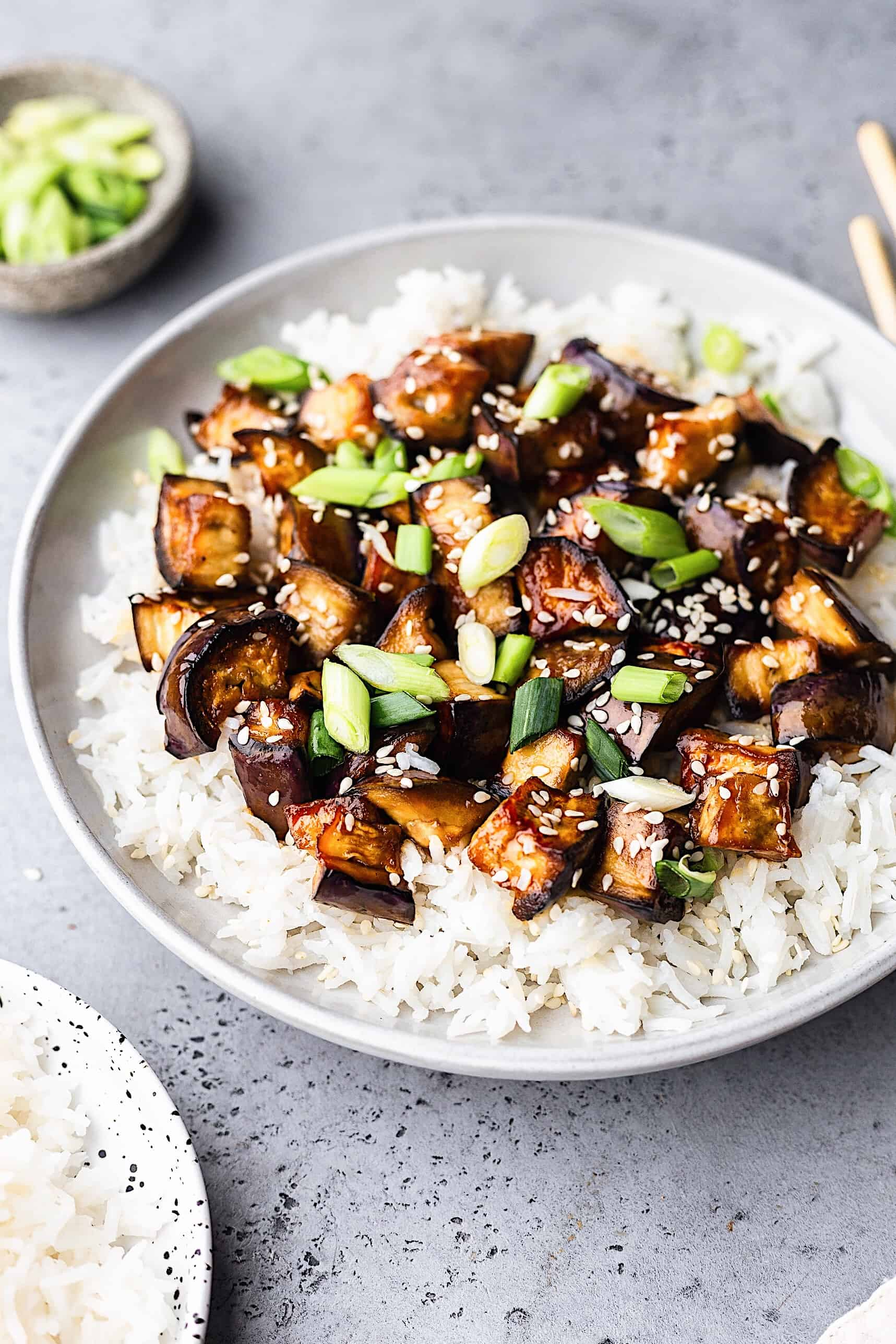 Vegan Marinated Teriyaki Eggplant with Rice #vegan #recipe #japanese #teriyaki #eggplant #aubergine