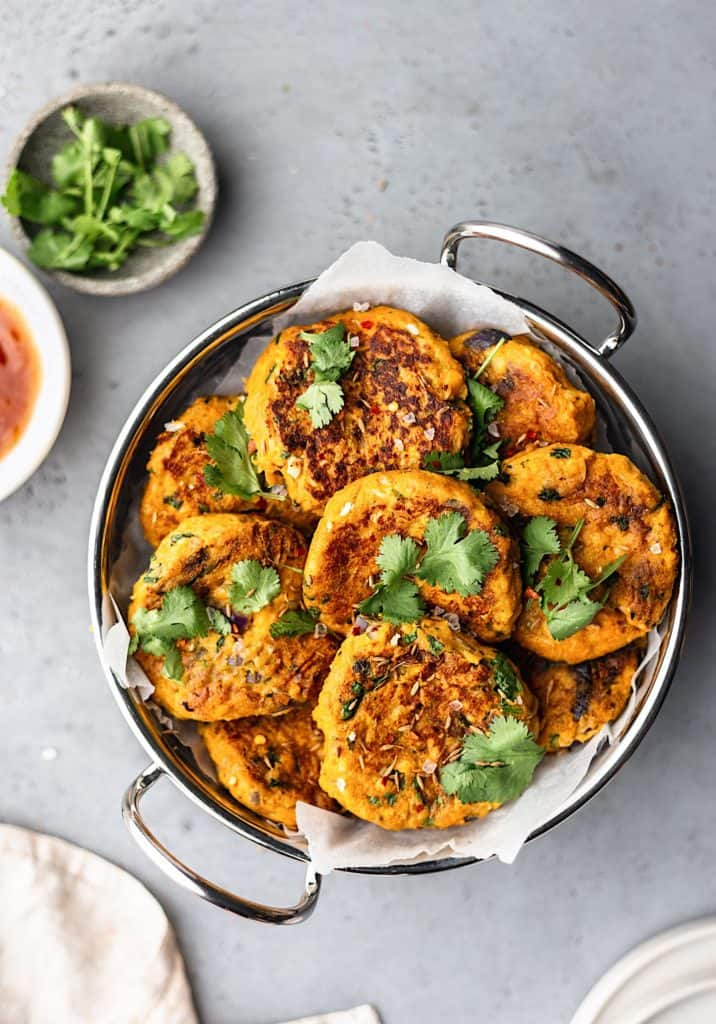 Vegan Curried Sweet Potato and Chickpea Patties #vegan #recipe #food #sweetpotato #chickpea #curried