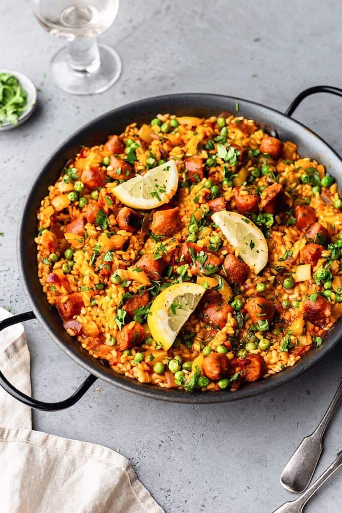 Vegan Chorizo Vegetable Paella #paella #vegan #recipe #food #rice #chorizo