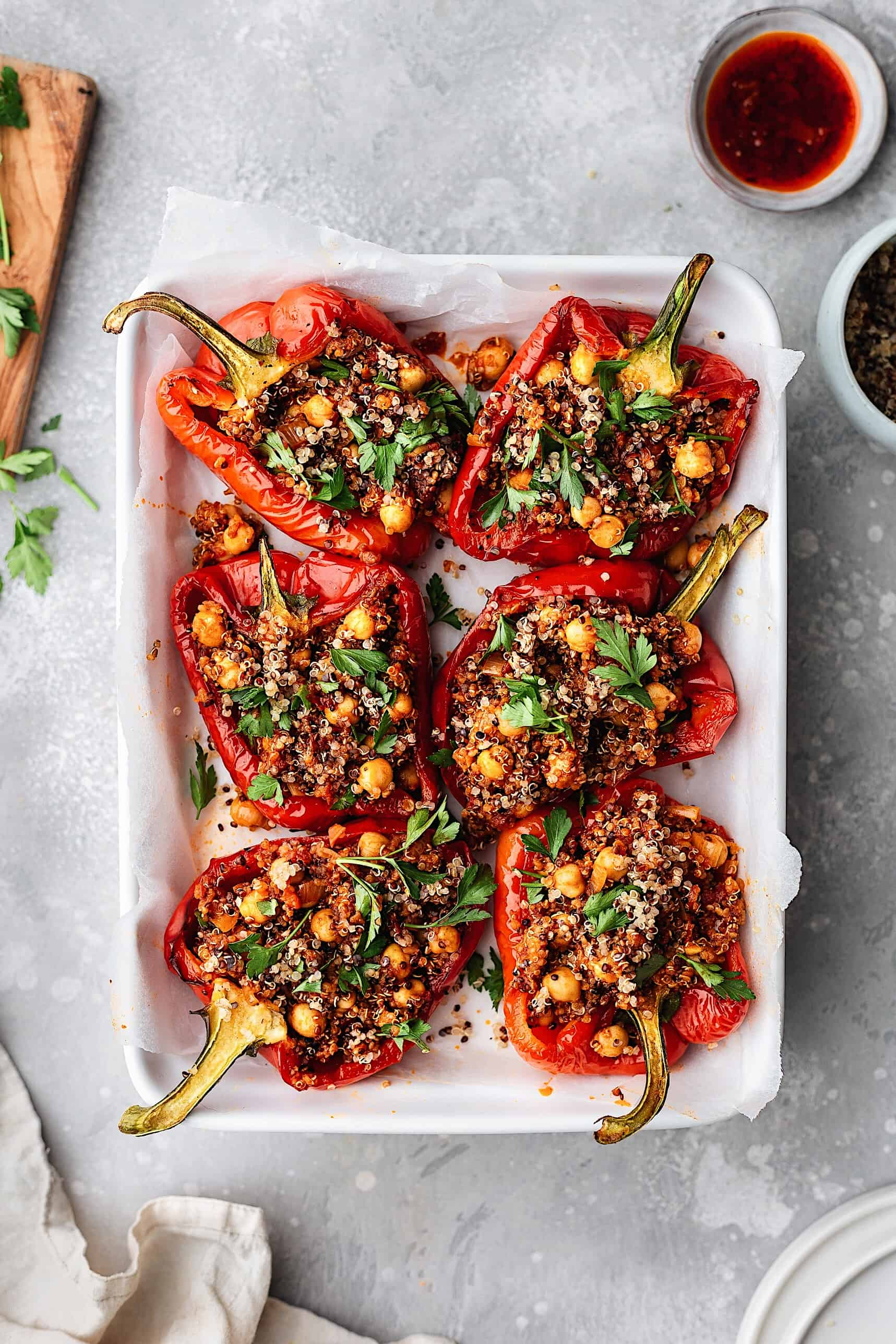 Chickpea and Quinoa Harissa Stuffed Peppers #peppers #harissa #vegan #recipe #vegetarian