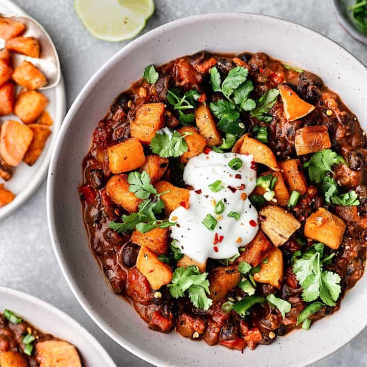 Black Bean Chipotle Chili with Roasted Sweet Potato