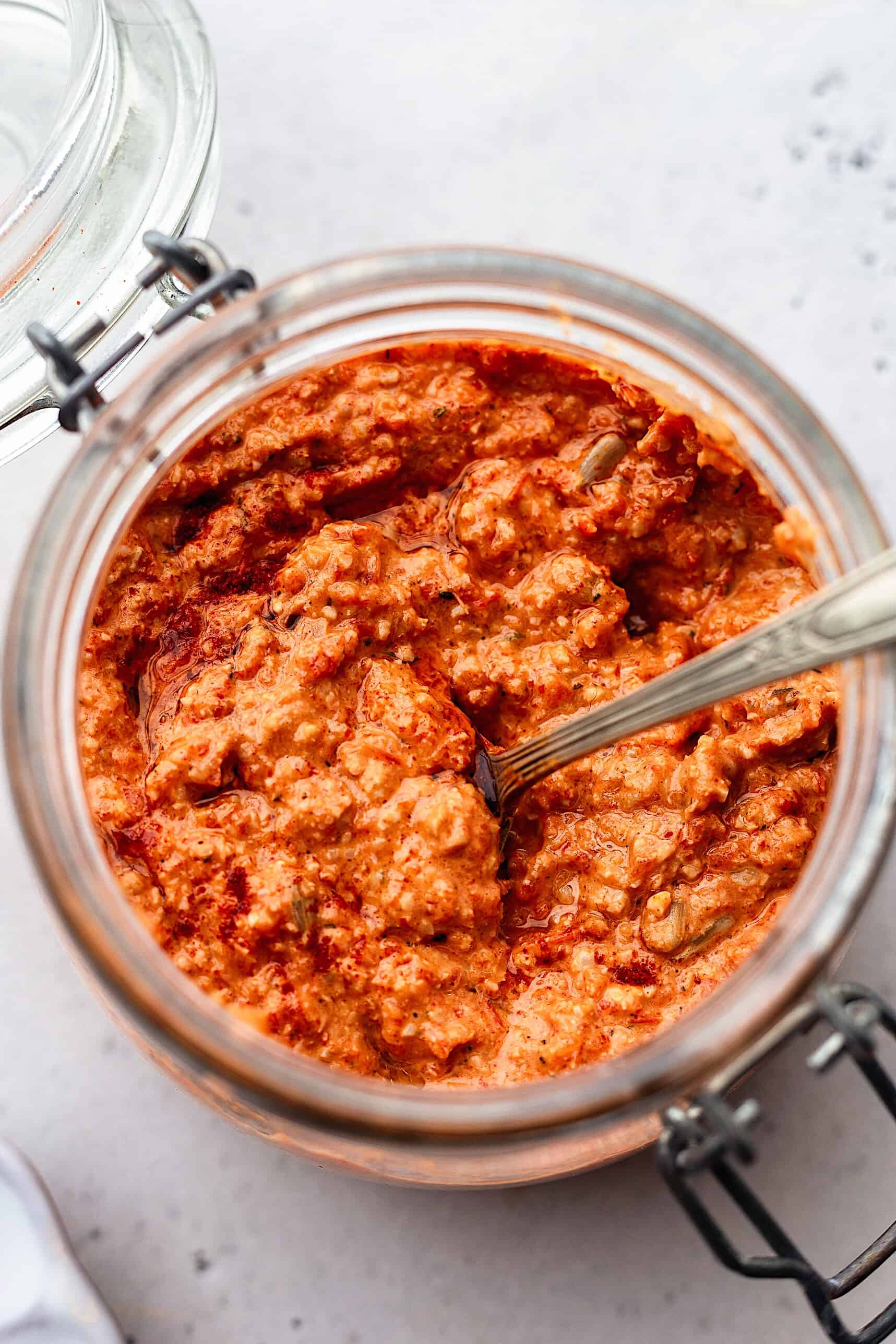 Sunflower Seed Romesco Sauce #spanishrecipe #recipe #food #vegan #nutfree #glutenfree #romesco #pepper
