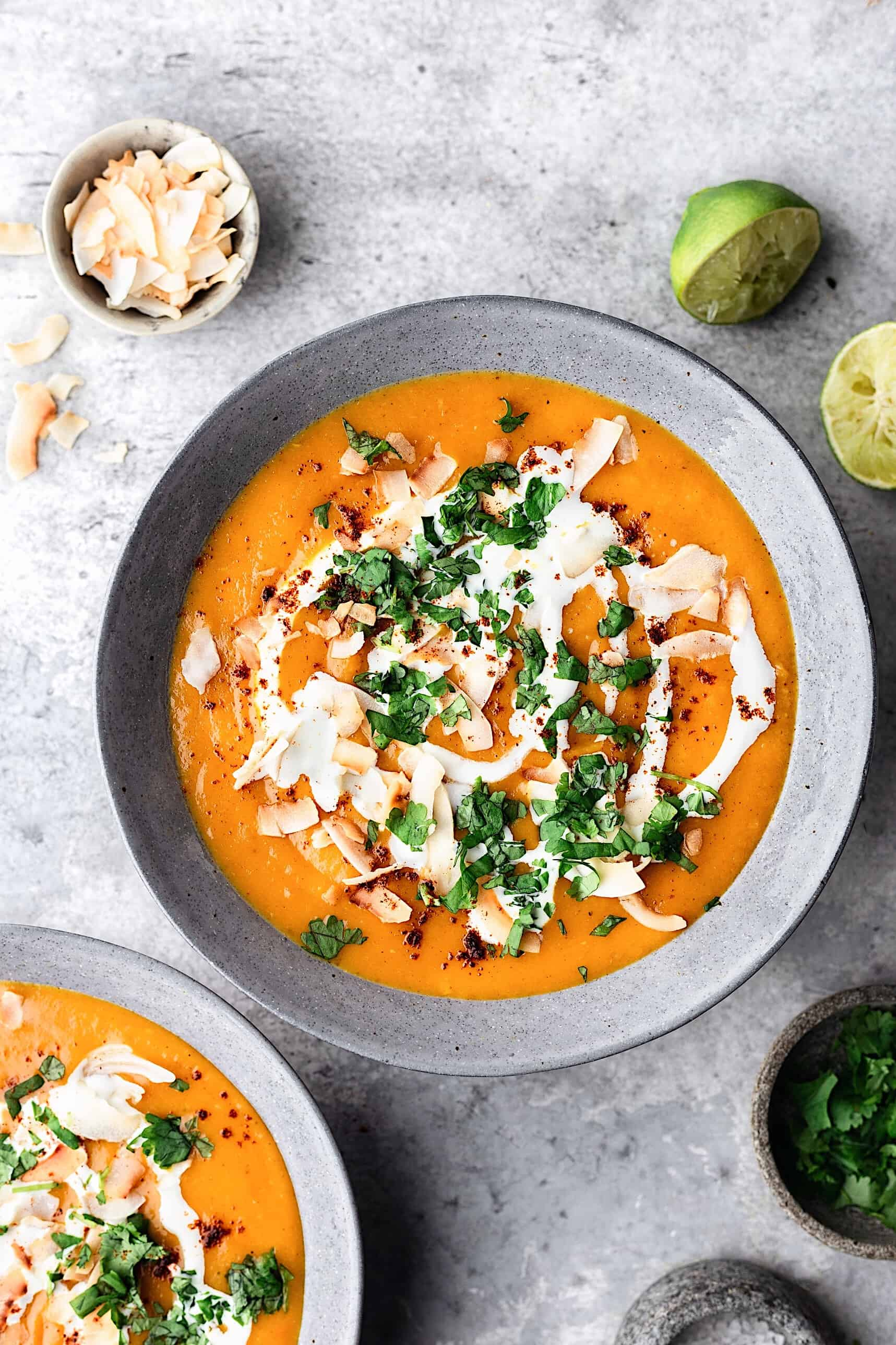 Curried Sweet Potato Coconut Soup #soup #vegan #recipe #sweetpotato #fall #autumn #coconut #curry #spice