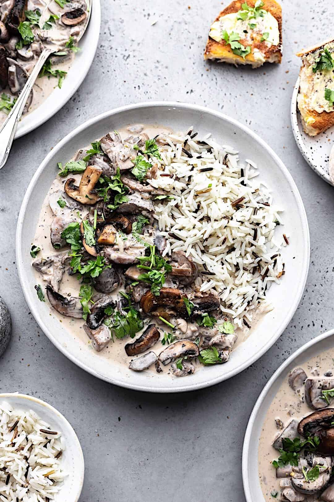 Vegan Mushroom Stroganoff with Wild Rice #vegan #recipe #mushroom #stroganoff #dairyfree #rice #veganrecipe #food