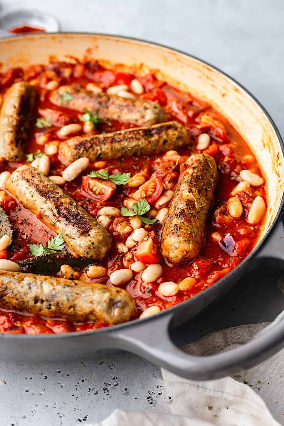 Vegan Sausage and Cannellini Bean Casserole #vegan #recipe #food #sausage #casserole #stew #cannellini #bean