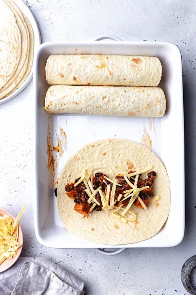 Black Bean and Sweet Potato Enchilada Assembling