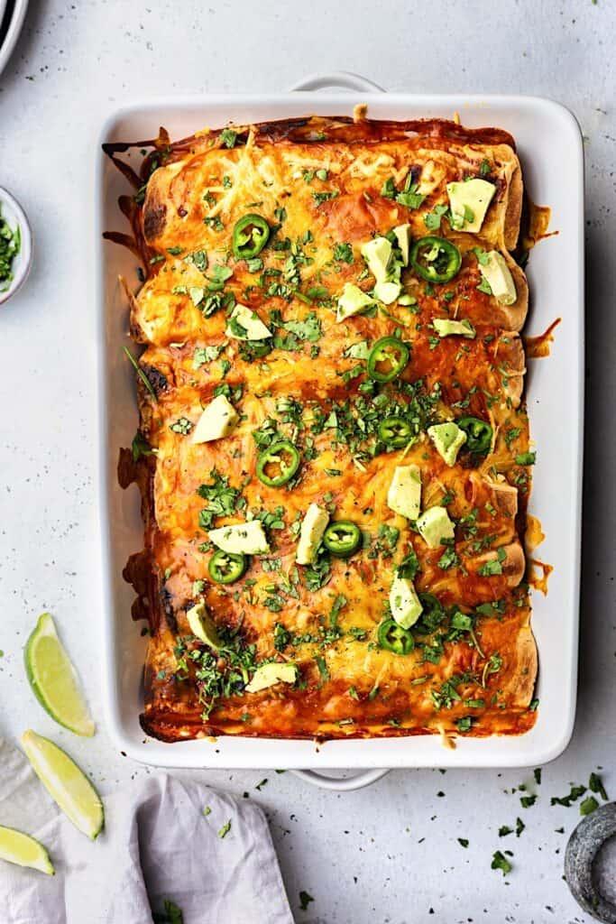 Vegan Black Bean and Sweet Potato Enchiladas #blackbean #sweetpotato #enchiladas #mexican #vegan #recipe
