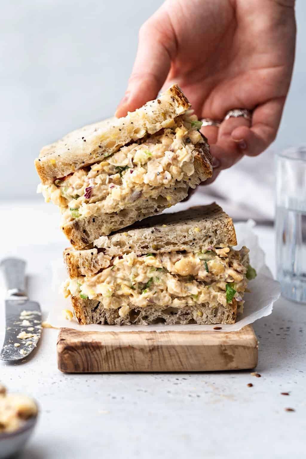 Vegan Chickpea Tuna Mayo #chickpea #salad #dairyfree #plantbased #mayo