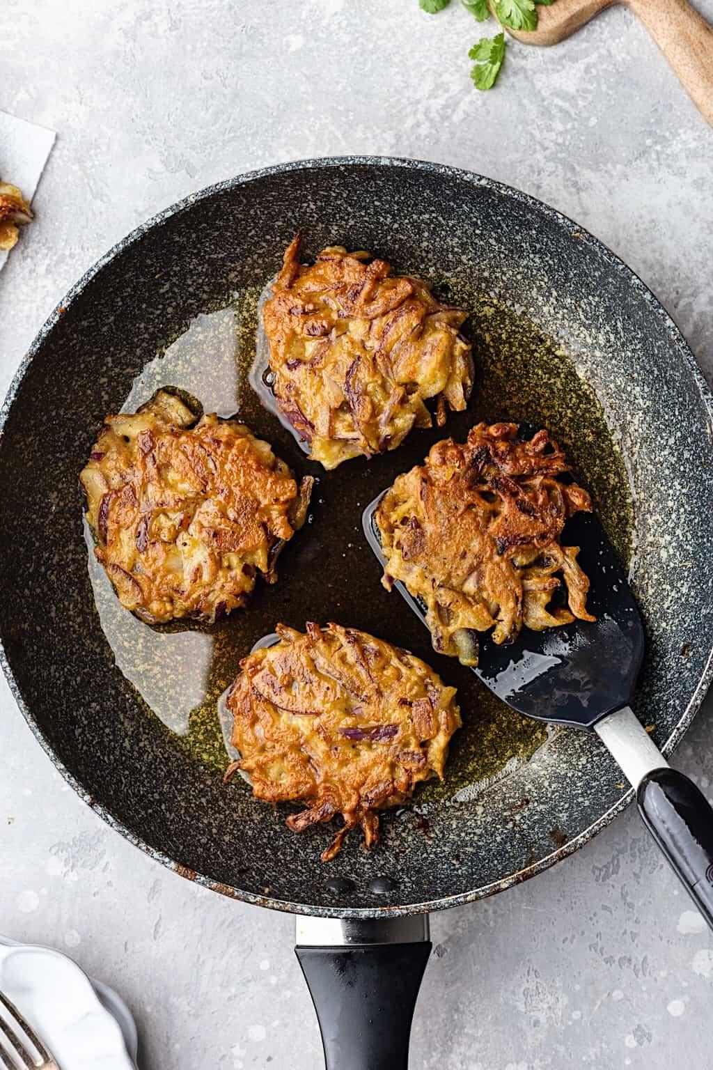 Vegan Onion Bhajis Frying