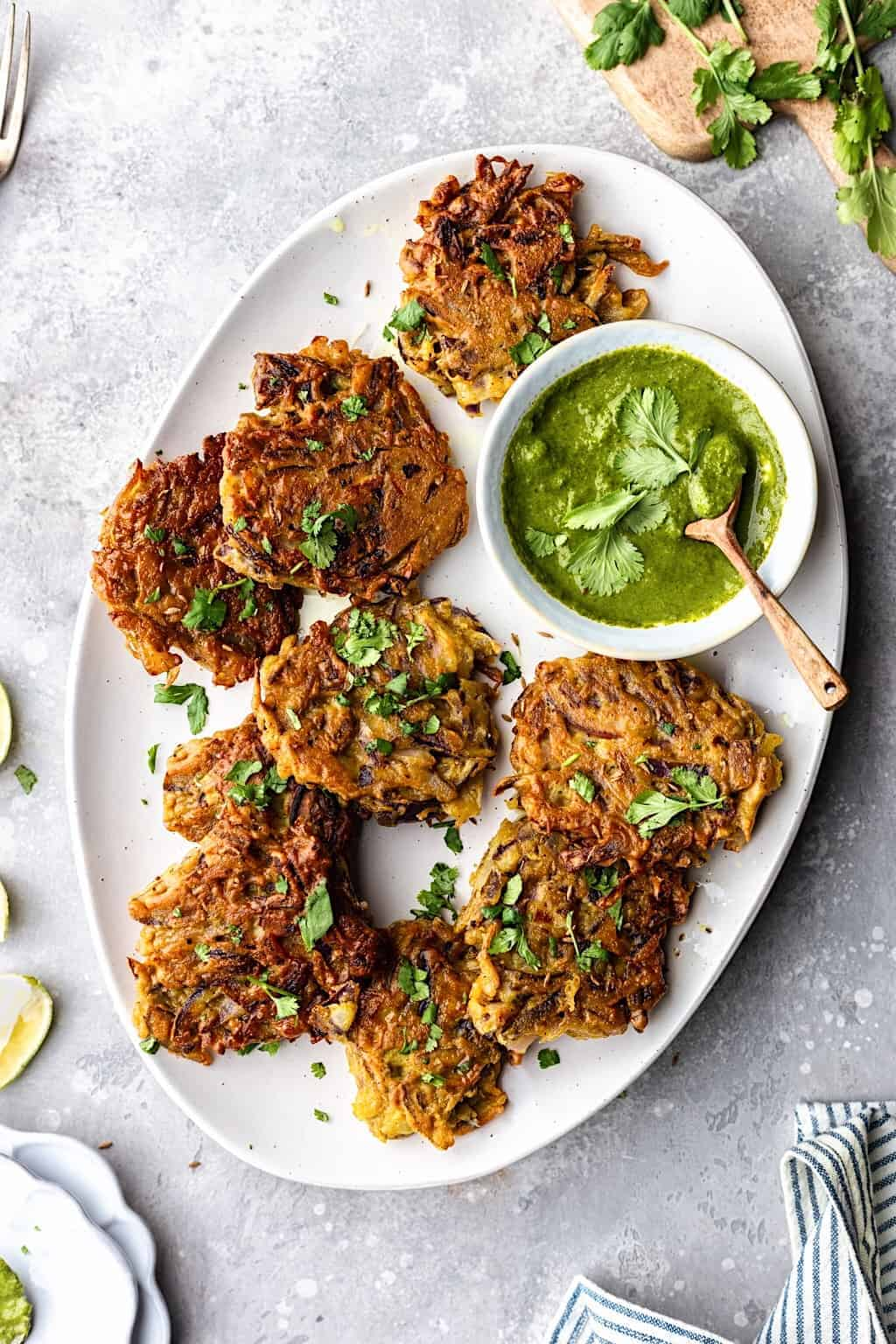 Easy Vegan Onion Bhajis with Coriander Dip #onion #bhaji #vegan #indianfood #glutenfree #curry