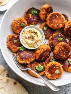 Sweet Potato and Corn Falafels #vegan #falafel #lunch #recipe #food #glutenfree