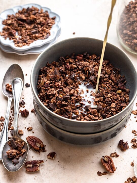 Vegan Chocolate Chip Granola #granola #chocolate #breakfast #healthy #vegan #dairyfree