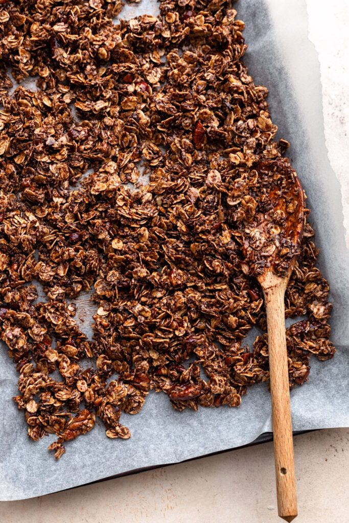 Vegan Chocolate Chip Granola on Tray