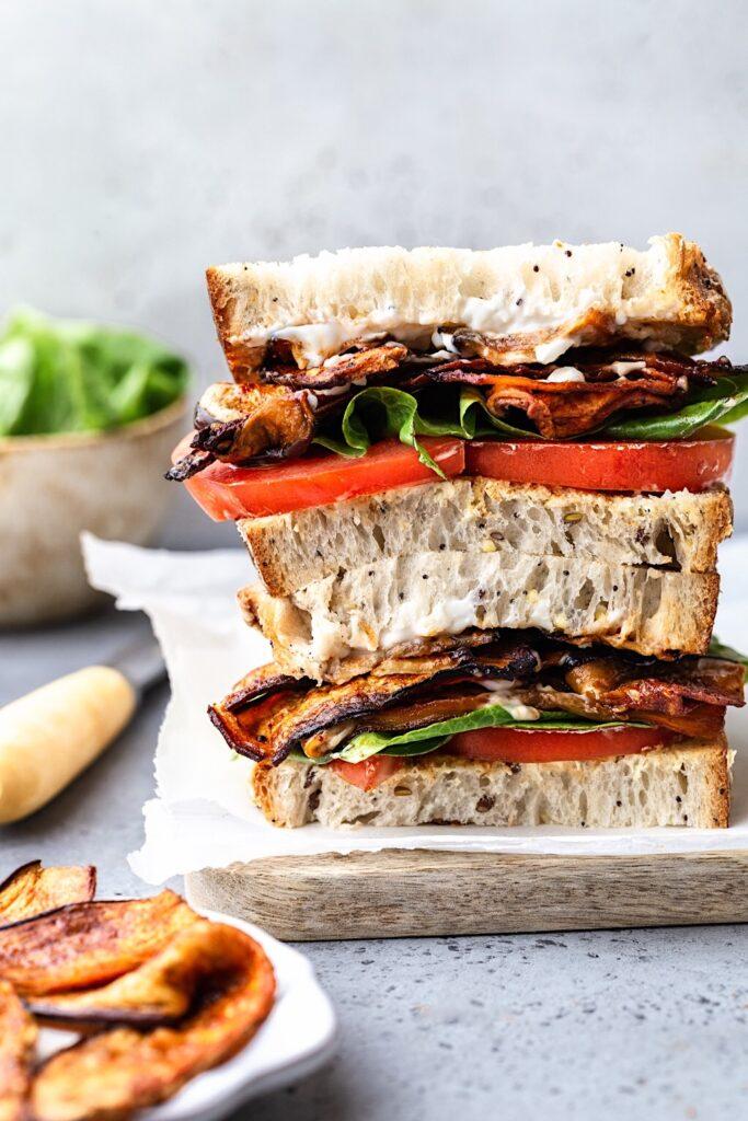Vegan Eggplant BLT Sandwich #vegan #sandwich #recipe #eggplant #aubergine #bacon