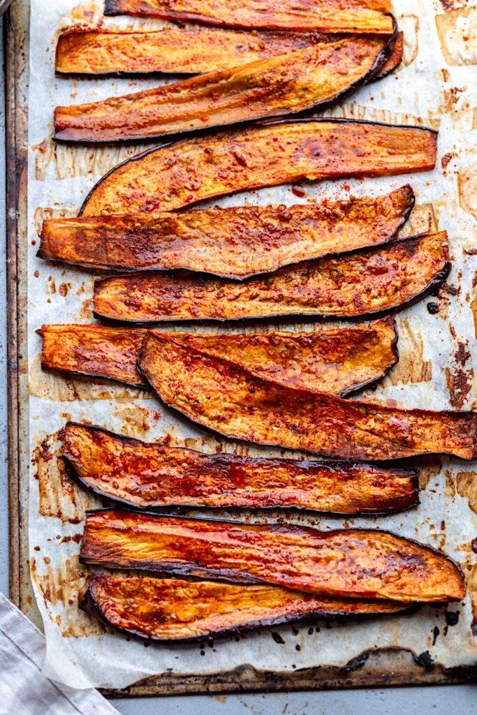 Vegan Eggplant Bacon #eggplant #aubergine #bacon #vegan #breakfast