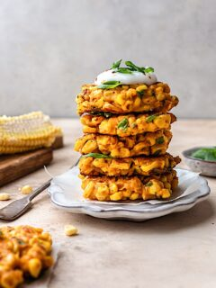 Vegan Cheesy Corn Fritters with Lemon Pepper Mayo #corn #sweetcorn #fritter #mayo #vegan #glutenfree #dairyfree