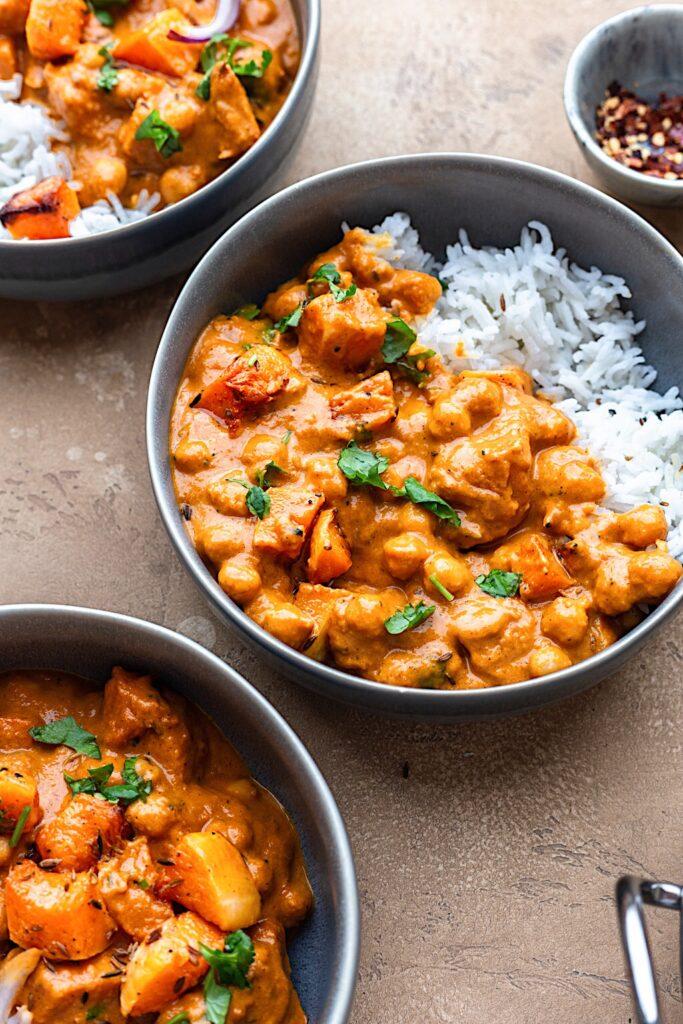 Vegan Roasted Butternut Squash Chickpea Curry #curry #squash #chickpea #dairyfree #vegan