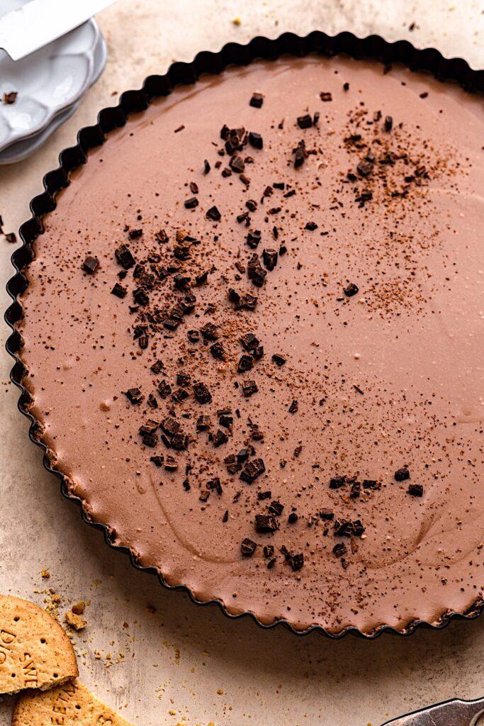 Vegan Chocolate Cream Pie #vegan #cream #chocolate #pie #mousse #dessert #dairyfree