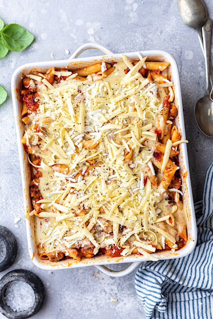 Vegan Pasta Bake with Cheese White Sauce