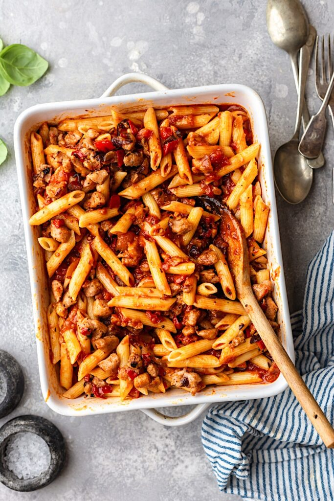 Vegan Pasta Bake in Dish