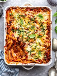 Vegan Pasta Bake #vegan #pasta #sausage #dairyfree #comfortfood