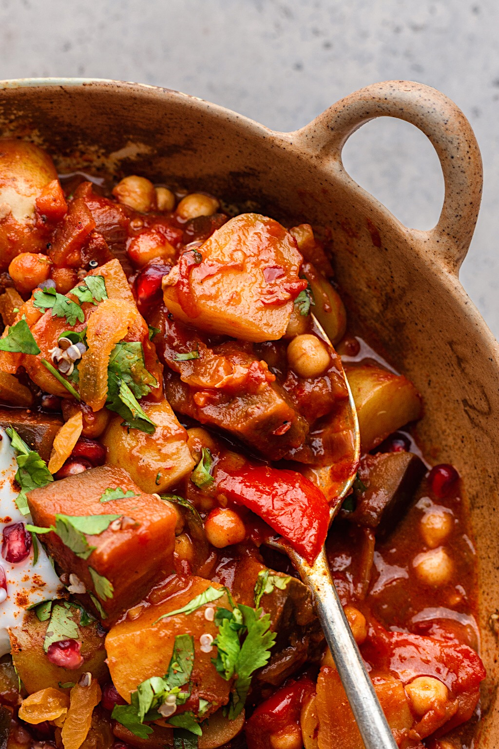 Harissa Vegetable and Chickpea Stew in Pan