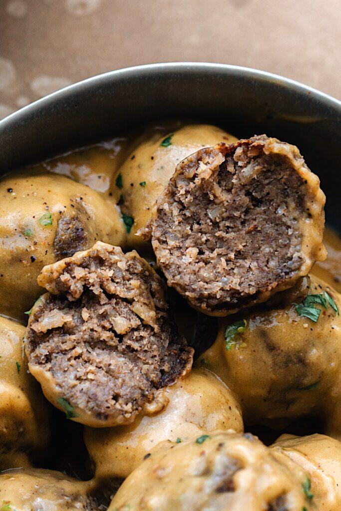 Vegan Swedish Meatballs Cut Open