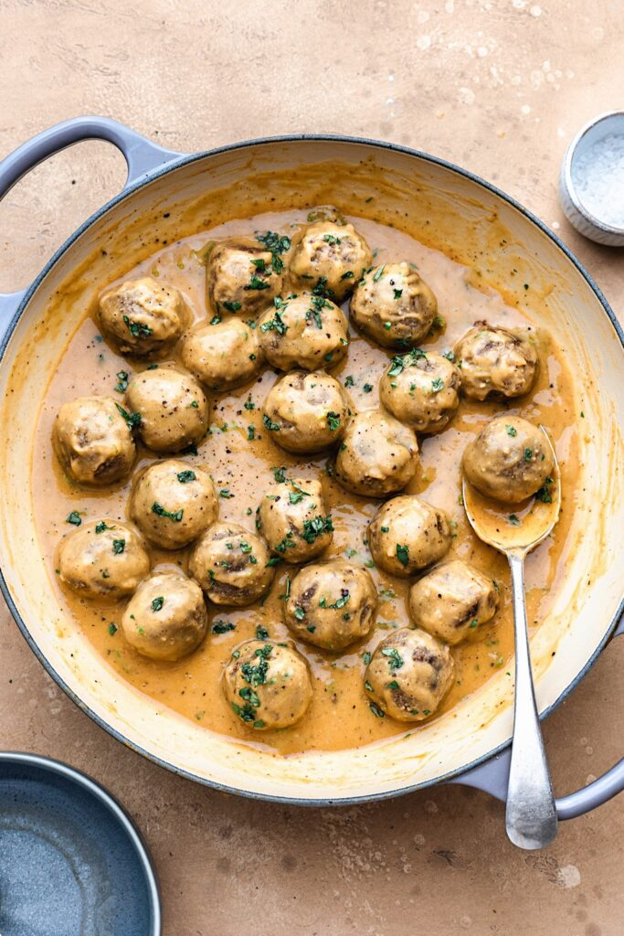 Vegan Swedish Meatballs and Sauce #vegan #meatballs #plantbased #swedish #recipe #dinner